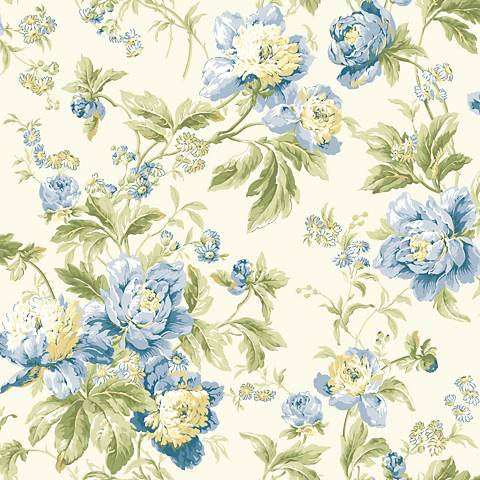 York Sure Strip Blue Waverly Forever Yours Wallpaper