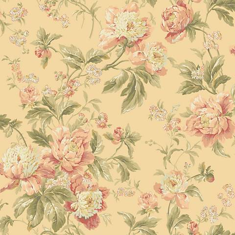 York Sure Strip Pale Peach Waverly Forever Yours Wallpaper