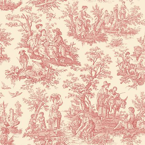 York Sure Strip Red Waverly Country Life Wallpaper