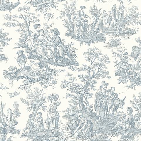 York Sure Strip Blue Waverly Country Life Wallpaper