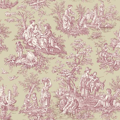 York Sure Strip Cranberry Waverly Country Life Wallpaper