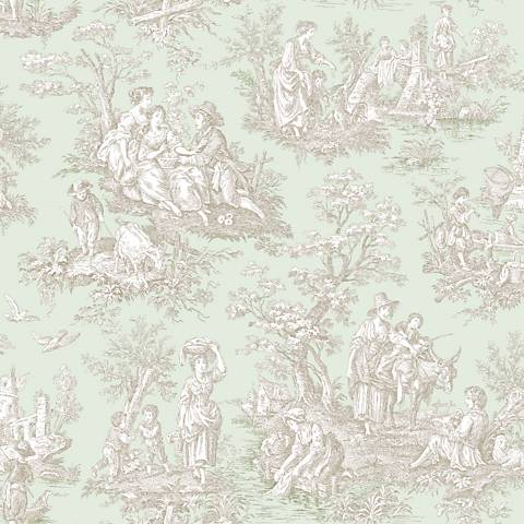 York Sure Strip Sea Foam Waverly Country Life Wallpaper