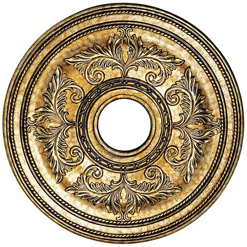 "Pascola 22 1/2"" Wide Vintage Gold Leaf Ceiling Medallion"