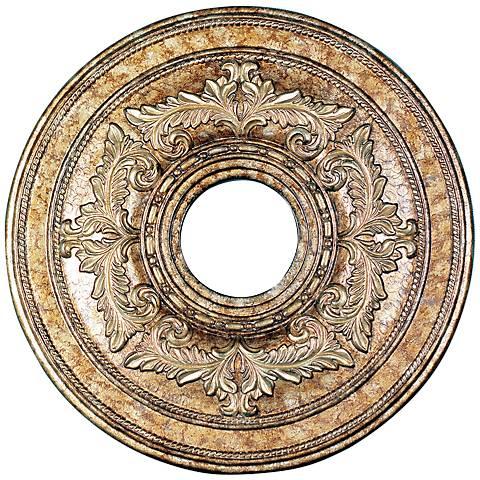 """Pascola 18"""" Wide Vintage Gold Leaf Ceiling Medallion"""