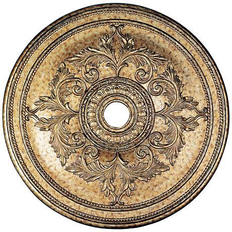 """Pascola 40 1/2"""" Wide Vintage Gold Leaf Ceiling Medallion"""