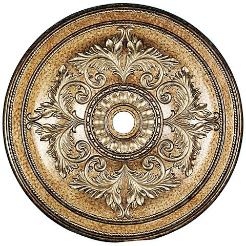 "Pascola 48 1/2"" Wide Vintage Gold Leaf Ceiling Medallion"