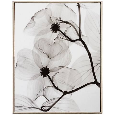 "Dogwood Blossoms Positive 25"" High Framed Wall Art"