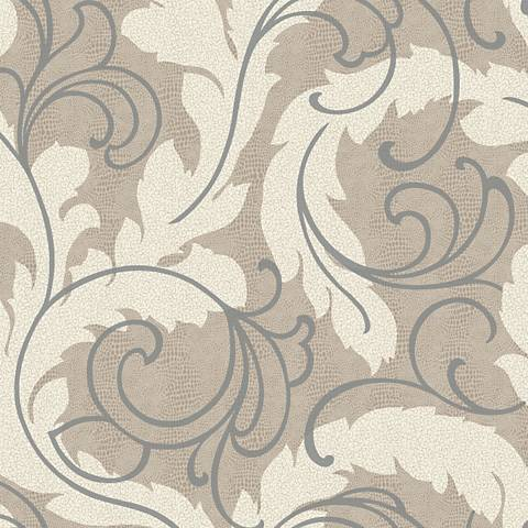 York Sure Strip Taupe Serpentine Scroll Removable Wallpaper