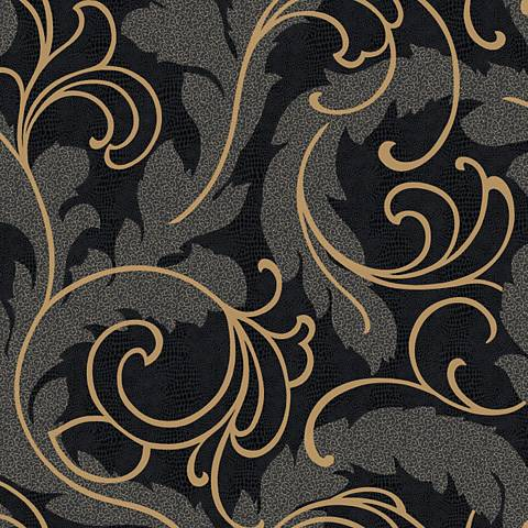 York Sure Strip Black Leather Serpentine Scroll Wallpaper