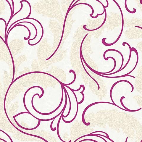 York Sure Strip Magenta Serpentine Scroll Wallpaper