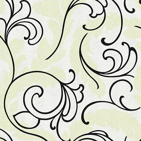 York Sure Strip White Leather Serpentine Scroll Wallpaper