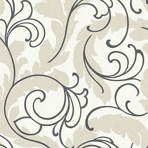 York Sure Strip Beige Serpentine Scroll Removable Wallpaper
