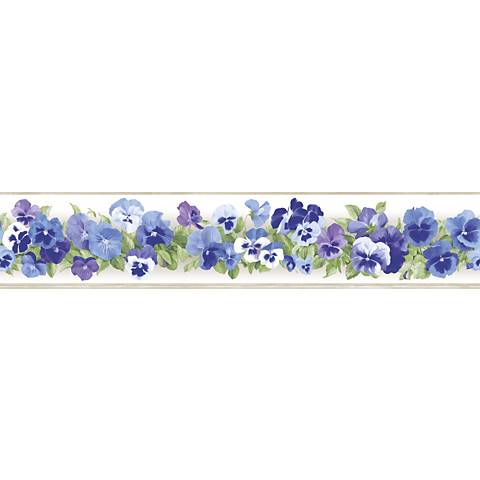 York Sure Strip Violet Pansy Removable Wallpaper Border