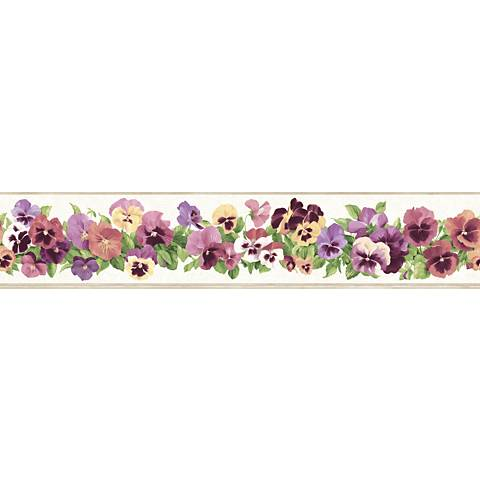 York Sure Strip Pink Pansy Removable Wallpaper Border