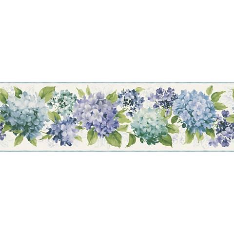 York Sure Strip Blue Hydrangea Removable Wallpaper Border