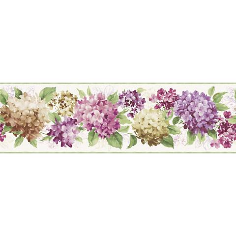York Sure Strip Purple Hydrangea Removable Wallpaper Border