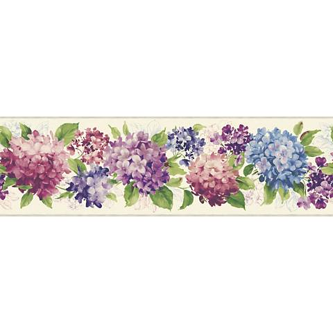 York Sure Strip Pink Hydrangea Removable Wallpaper Border