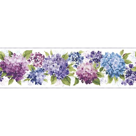 York Sure Strip Cream Hydrangea Removable Wallpaper Border