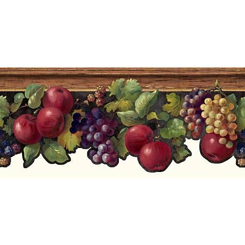 York Sure Strip Brown Fruit and Ivy Wallpaper Border