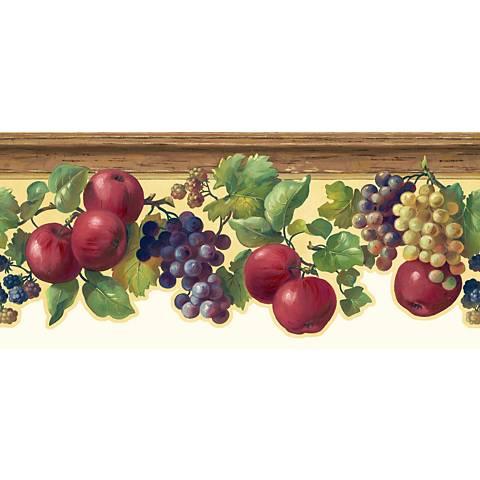 York Sure Strip Cream Fruit and Ivy Wallpaper Border