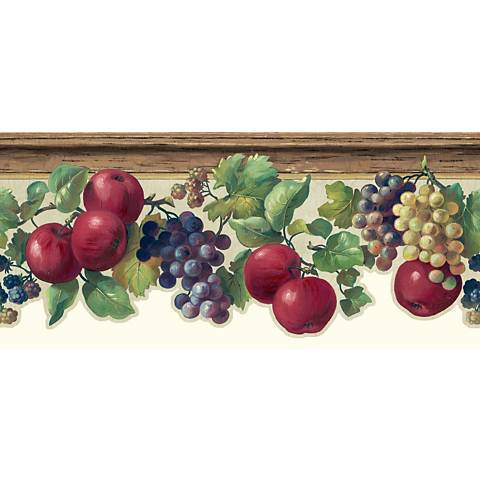 York Sure Strip Beige Fruit and Ivy Wallpaper Border