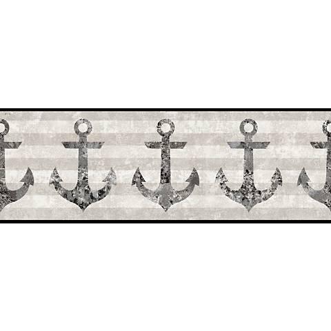 York Sure Strip Dark Gray Anchors Away Wallpaper Border