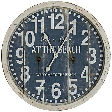 "Cooper Classics Greenwich Aged Cream 24"" Round Wall Clock"