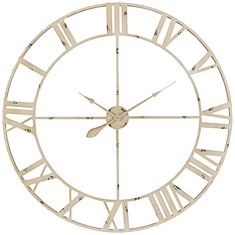 "Cooper Classics Annency Aged Cream 39"" Round Wall Clock"