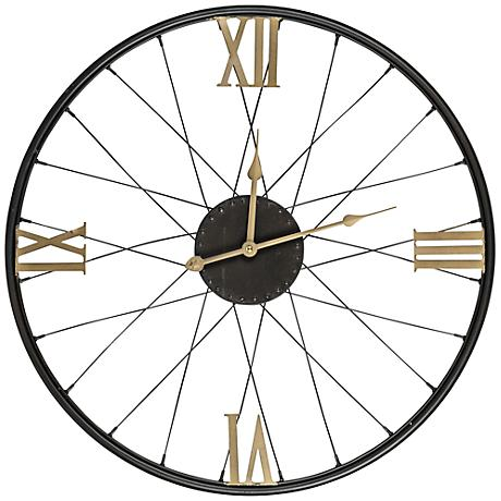 "Cooper Classics Dedon Black 21"" Round Wall Clock"
