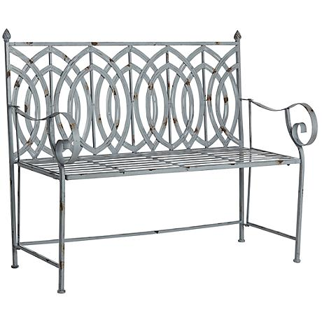 Sculpture Garden Outdoor Antique Steel Gray Bench