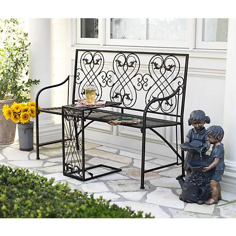 "Romance Black-Gold 47 1/2""W Outdoor Bench with Nesting Table"