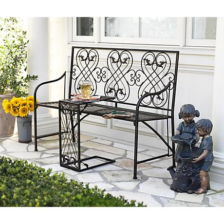"""Romance Black-Gold 47 1/2""""W Outdoor Bench with Nesting Table"""