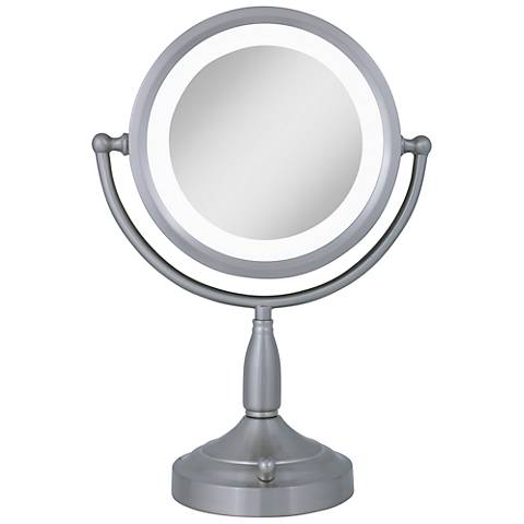 Satin Nickel Dual-Sided Magnified Lighted Makeup Mirror
