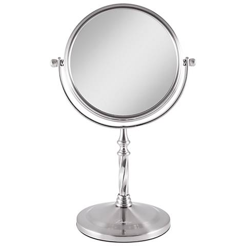 Satin Nickel Swivel 5X Magnification Makeup Mirror