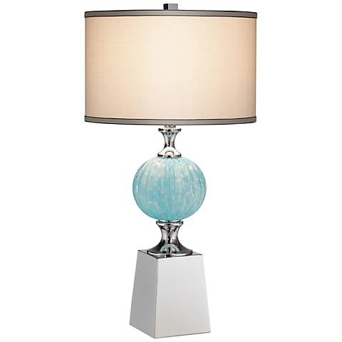 Atlas Blue Glass and Metal Table Lamp