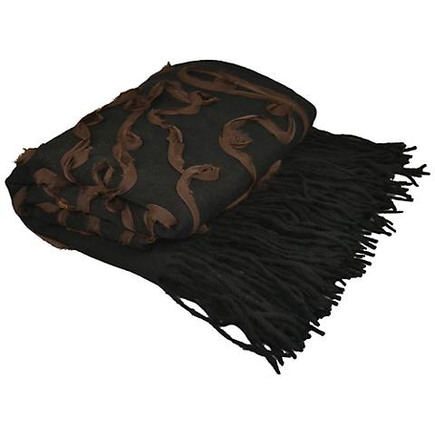 Black Embellished Cashmere Blend Chiffon Throw Blanket