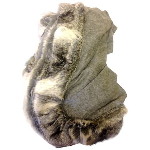 Heather Gray Signature Fur Trim Cashmere Blend Throw