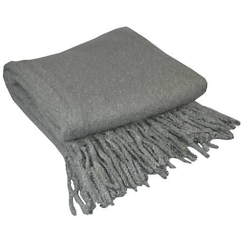 Alloy Gray Looped Mohair Throw Blanket