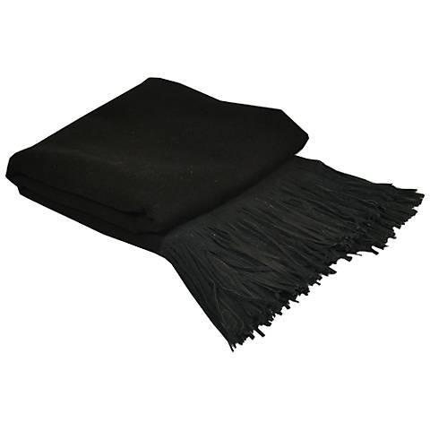 Black Merino Wool Black Suede Fringed Throw Blanket