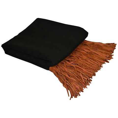 Black Merino Wool Brown Suede Fringed Throw Blanket