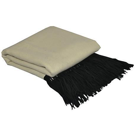 Creme Merino Wool Black Suede Fringed Throw Blanket