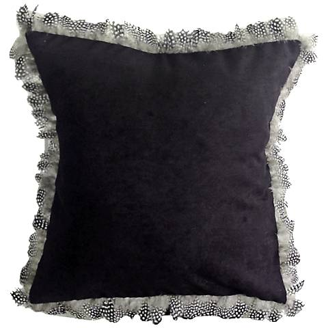 """Les Plumes Goose Feather Black 18"""" Square Throw Pillow"""