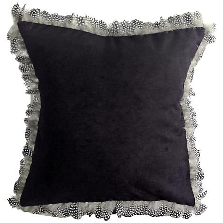 "Les Plumes Goose Feather Black 18"" Square Throw Pillow"