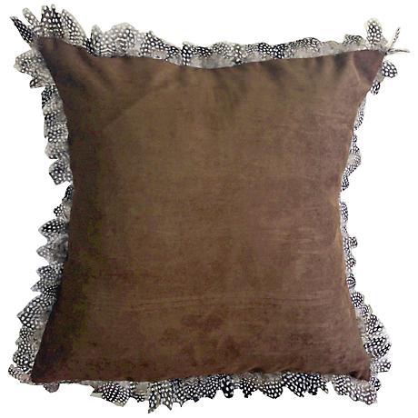 "Les Plumes Goose Feather Brown 18"" Square Throw Pillow"