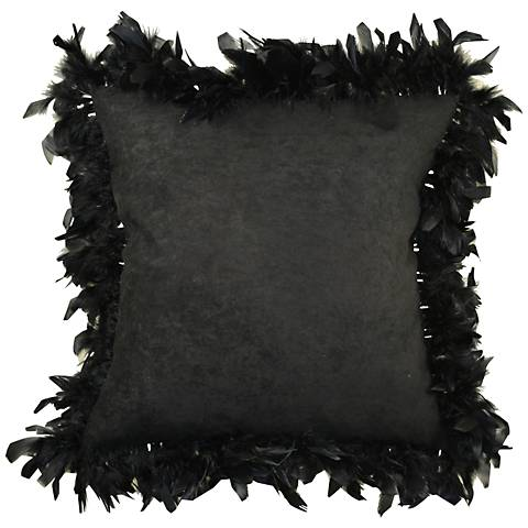 """Les Plumes Plummy Feather Black 18"""" Square Throw Pillow"""