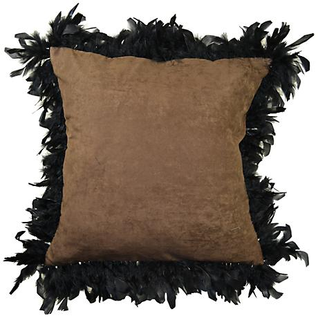 """Les Plumes Plummy Feather Brown 18"""" Square Throw Pillow"""