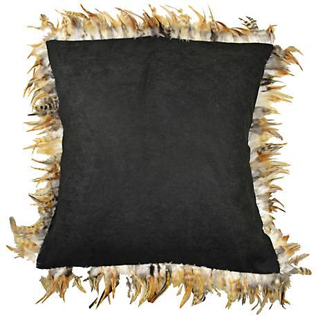 "Les Plumes Feather Black 18"" Square Wild Throw Pillow"