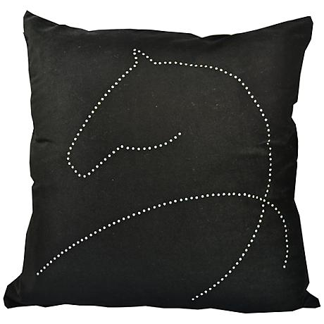"""Year Of The Horse 18"""" Square Black Throw Pillow"""