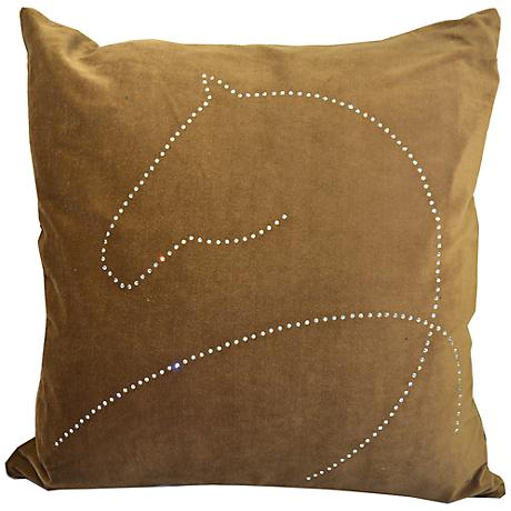 "Year Of The Horse 18"" Square Brown Throw Pillow"