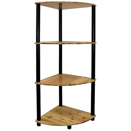 Akerman Natural Oak 4-Tier Corner Bookshelf